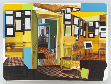 Mickalene Thomas (American, born 1971). <em>Monet's Salle a Manger Jaune</em>, 2012. Rhinestone, acrylic, oil and enamel on wood panel, 108 x 144 x 2 in. (274.3 x 365.8 x 5.1 cm). Brooklyn Museum, A. Augustus Healy Fund, 2012.73a-b. © artist or artist's estate (Photo: Image courtesy of Lehmann Maupin Gallery, New York and Hong Kong, CUR.2012.73a-b_Lehman_Maupin_photo_LM15960.jpg)