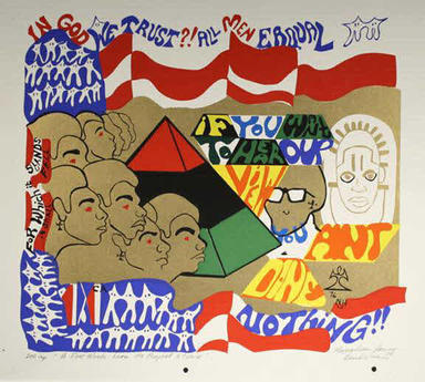 Napoleon Jones-Henderson (American, born 1943). <em>A Few Words From the Prophet Stevie</em>, 1976. Screenprint on paper, Sheet: 18 x 19 1/2 in. (45.7 x 49.5 cm). Brooklyn Museum, Gift of R.M. Atwater, Anna Wolfrom Dove, Alice Fiebiger, Joseph Fiebiger, Belle Campbell Harriss, and Emma L. Hyde, by exchange, Designated Purchase Fund, Mary Smith Dorward Fund, Dick S. Ramsay Fund, and  Carll H. de Silver Fund, 2012.80.22. © artist or artist's estate (Photo: Brooklyn Museum, CUR.2012.80.22.jpg)