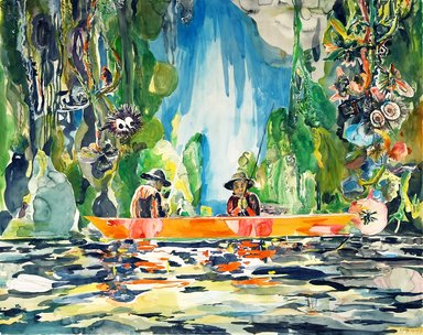 Santi Moix (Spanish, born 1960). <em>Fishing Day (Huck & Tom)</em>, 2011. Watercolor and collage on paper, 48 x 60 3/4 in. (121.9 x 154.3 cm). Brooklyn Museum, Purchase gift of Stephanie and Tim Ingrassia, 2012.8. © artist or artist's estate (Photo: Image courtesy of Paul Kasmin Gallery, CUR.2012.8_Paul_Kasmin_Gallery_photo.jpg)