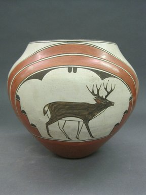 Vincentita Pino (Zia Pueblo, 1917-2009). <em>Olla (Water Jar)</em>, ca. 1950. Clay, pigment, 8 x 8 in. (20.3 x 20.3 cm). Brooklyn Museum, Gift of Graham and Megan Marks in memory of Barbara and Fred Marks, 2013.100.3. Creative Commons-BY (Photo: Brooklyn Museum, CUR.2013.100.3_view1.jpg)