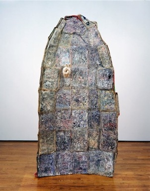 Johannes VanDerBeek (American, born 1982). <em>It's Time!?</em>, 2006. Time magazine issues, glue, Hydrocal, 75 x 36 x 6 in. (190.5 x 91.4 x 15.2 cm). Brooklyn Museum, Gift of Zach Feuer, 2013.102.1. © artist or artist's estate (Photo: Image courtesy of Zach Feuer Gallery, CUR.2013.102.1_ZachFeuerGallery_photograph.jpg)