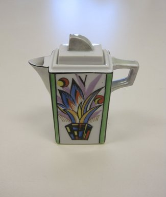 Chikaramachi Co. (1928-1946). <em>Vinegar Cruet, from a 6 Piece Condiment Set</em>, ca. 1930. Porcelain  , 4 3/4 x 4 1/16 x 1 5/8 in. (12.1 x 10.3 x 4.1 cm). Brooklyn Museum, Gift of Stephen Stark, by exchange, 2013.15.2a-b (Photo: Brooklyn Museum, CUR.2013.15.2a-b.jpg)