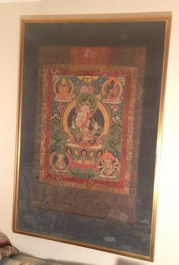 <em>Thangka of Vajrasattva</em>, late 17th-early 18th century. Opaque watercolors on cloth, silk brocade mounting, 54 x 37 in. (137.2 x 94.0 cm). Brooklyn Museum, Gift of Sarah B. Sherrill, 2013.28 (Photo: Brooklyn Museum, CUR.2013.28_framed.jpg)