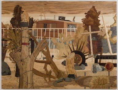 Alison Elizabeth Taylor (American, born 1972). <em>Security House</em>, 2008-2010. Wood veneer, shellac, 93 x 122 in. (236.2 x 309.9 cm). Brooklyn Museum, Gift of the Contemporary Art Acquisitions Committee, 2013.29.2a-c. © artist or artist's estate (Photo: Courtesy of the artists gallery, CUR.2013.29.2a-c_gallery_photo.jpg)