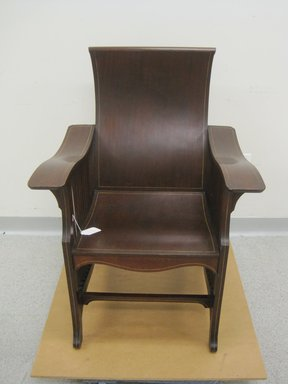 David Wolcott Kendall (American, 1851-1910). <em>Armchair, Model 763</em>, Patented August 31, 1897. Mahogany, mahogany veneer plywood, other woods, 36 1/2 x 27 x 27 1/2 in. (92.7 x 68.6 x 69.9 cm). Brooklyn Museum, Designated Purchase Fund, 2013.33 (Photo: Brooklyn Museum, CUR.2013.33_view2.jpg)