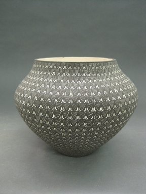 Sandra Victorina (Haak'u (Acoma Pueblo), born 1956). <em>Water Jar</em>, late 20th century. Clay, pigment, 6 3/4 x 8 1/2 in. (17.1 x 21.6 cm). Brooklyn Museum, Gift of Joan and Sanford Krotenberg, 2013.64.2. Creative Commons-BY (Photo: Brooklyn Museum, CUR.2013.64.2.jpg)