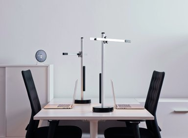 """Jake Dyson (British, born 1972). <em>""""CSYS TASK"""" Table Lamp</em>, designed 2011, manufactured 2013. Aluminum, copper, steel, polycarbonate plastic, 25 11/16 x 20 3/4 in. (65.3 x 52.7 cm). Brooklyn Museum, Gift of Jake Dyson Products, 2013.76. Creative Commons-BY (Photo: Ed Reeve, courtesy of Jake Dyson Products, CUR.2013.76_Ed_Reeve_photograph_03.jpg)"""