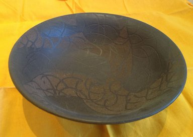 Kohyama Yasuhisa (Japanese, born 1936). <em>Bowl</em>, 1995. Dark stoneware with black glaze, 4 1/2 x 7 1/16 in. (11.5 x 18 cm). Brooklyn Museum, Gift of Shelly and Lester Richter, 2013.83.10. Creative Commons-BY (Photo: Brooklyn Museum, CUR.2013.83.10.jpg)