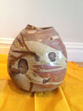 Otani Shiro (Japanese, born 1936). <em>Vase</em>, ca. 1985. Stoneware with quartz inclusions and ash glaze; shigaraki ware, 10 1/4 x 7 1/16 in. (26 x 18 cm). Brooklyn Museum, Gift of Shelly and Lester Richter, 2013.83.18. Creative Commons-BY (Photo: Brooklyn Museum, CUR.2013.83.18.jpg)