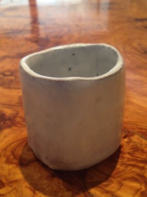 Kaneta Masanao (Japanese, born 1953). <em>Sake Cup</em>, 1994. Stoneware with white glaze; hagi ware, 2 3/8 x 1 15/16 in. (6 x 5 cm). Brooklyn Museum, Gift of Shelly and Lester Richter, 2013.83.51. Creative Commons-BY (Photo: Brooklyn Museum, CUR.2013.83.51.jpg)