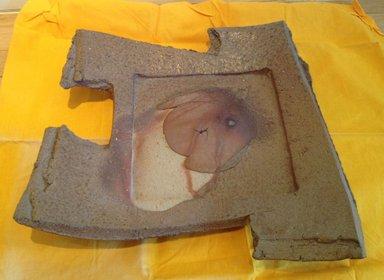 Kakurezaki Ryuichi (Japanese, born 1950). <em>Serving Tray</em>, 1990-2005. Stoneware; bizen ware, 2 3/8 x 15 3/8 x 14 15/16 in. (6 x 39 x 38 cm). Brooklyn Museum, Gift of Shelly and Lester Richter, 2013.83.8. Creative Commons-BY (Photo: Brooklyn Museum, CUR.2013.83.8.jpg)
