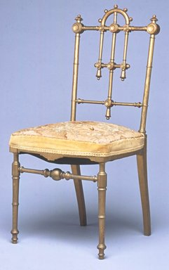 Unknown. <em>Side Chair</em>, ca. 1875. Gilded wood, old upholstery, 35 5/8 x 16 3/4 x 18 1/4 in. (90.5 x 42.5 x 46.4 cm). Brooklyn Museum, Gift of Dr. Barry R. Harwood, 2013.91. Creative Commons-BY (Photo: Brooklyn Museum, CUR.2013.91.jpg)
