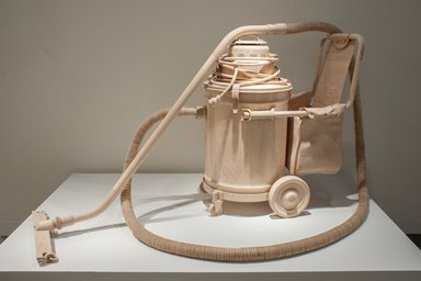 Roxy Paine (American, born 1966). <em>Labor Saving Device</em>, 2013. Maple wood and stainless steel, 38 x 60 x 47 in. (96.5 x 152.4 x 119.4 cm). Brooklyn Museum, Alfred T. White Fund, 2014.10. © artist or artist's estate (Photo: Image courtesy of Kavi Gupta Gallery, CUR.2014.10_view01_Kavi_Gupta_Gallery_photograph.jpg)