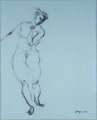 Adja Yunkers (American, born Latvia, 1900-1983). <em>Nude in Movement</em>, 1950. Brown charcoal, 20 1/2 x 16 1/2 in. (52.1 x 41.9 cm). Brooklyn Museum, Gift of Sarah-Ann & Werner H. Kramarsky Collection, New York, 2014.113.13. © artist or artist's estate (Photo: Image courtesy of Werner H. Kramarsky, CUR.2014.113.13_Kramarsky_photo.jpg)