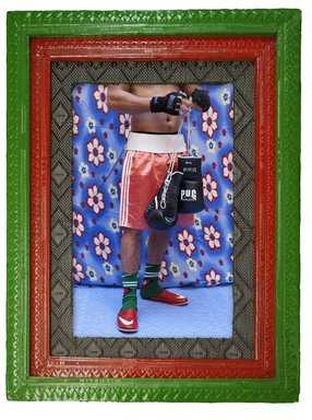 Hassan Hajjaj (English, born Morocco, 1961). <em>Taha Tamsamani</em>, 2010. Metallic lambda print on dibond with tyre painted frame, 42 15/16 x 33 in. (109 x 83.8 cm). Brooklyn Museum, Robert A. Levinson Fund, 2014.51. © artist or artist's estate (Photo: Image courtesy of The Third Line Gallery, CUR.2014.51_The_Third_Line_photograph.jpg)