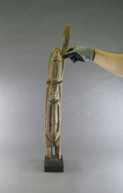 Dogon. <em>Figure</em>, early 20th century. Wood, 27 9/16 x 3 3/8 x 4 1/8 in. (70 x 8.5 x 10.5 cm). Brooklyn Museum, Gift in memory of Frederic Zeller, 2014.54.24 (Photo: Brooklyn Museum, CUR.2014.54.24_front_view2.jpg)