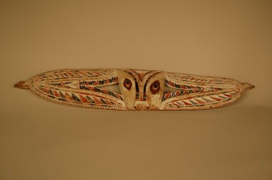 <em>Bird Ornament from Canoe</em>. Wood, pigment, shell, 9/16 x 13/16 x 23 7/16 in. (1.5 x 2 x 59.5 cm). Brooklyn Museum, Gift in memory of Frederic Zeller, 2014.54.41 (Photo: Brooklyn Museum, CUR.2014.54.41_overall.jpg)