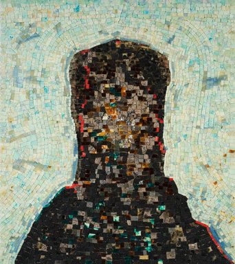 Jack Whitten (American, 1939-2018). <em>Black Monolith II (For Ralph Ellison)</em>, 1994. Acrylic, molasses, copper, salt, coal, ash, chocolate, onion, herbs, rust, eggshell, razor blade on canvas, 58 x 52 in. (147.3 x 132.1 cm). Brooklyn Museum, William K. Jacobs, Jr. Fund, 2014.65. © artist or artist's estate (Photo: Image Courtesy of Alexander Gray Associates, CUR.2014.65_Alexander_Gray_Associates_photograph.jpg)
