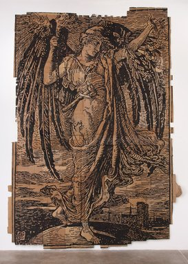Andrea Bowers (American, born 1965). <em>Memory of the Paris Commune Revised to Equal Work Deserves Equal Pay (Illustration by Walter Crane)</em>, 2013. Marker on cardboard, 164 x 117 in. (416.6 x 297.2 cm). Brooklyn Museum, Alfred T. White Fund, Emily Winthrop Miles Fund, and Robert A. Levinson Fund, 2014.84. © artist or artist's estate (Photo: Image Courtesy of Susan Vielmetter, CUR.2014.84_SusanVielmetter_photograph.jpg)