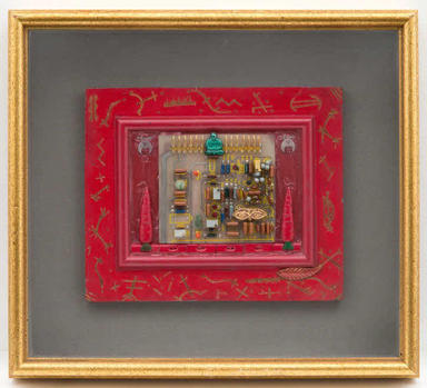 Betye Saar (American, born 1926). <em>Sacred Symbols</em>, 1988. Wood, pigment, framed: 12 1/8 x 13 5/8 in. (30.8 x 34.6 cm). Brooklyn Museum, Gift of West Family Trust, 2015.100. © artist or artist's estate (Photo: , CUR.2015.100.JPG)