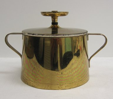 Anton (Tommi) Parzinger (American, born Germany 1903-1981). <em>Sugar Bowl with Lid, Part of Coffee Set</em>, ca. 1952. Brass, other metals, 4 1/4 x 6 3/8 x 4 7/16 in. (10.8 x 16.2 x 11.2 cm). Brooklyn Museum, Gift of Ravi R. Mathura, 2015.103.4a-b (Photo: Brooklyn Museum, CUR.2015.103.4a-b.jpg)
