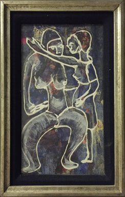 Spencer Depas (Haitian, 1928-1989). <em>Mother and Child</em>, ca. 1967. Oil on masonite, sight size: 12 x 6 3/4 in. (30.5 x 17.1 cm). Brooklyn Museum, Gift of Vivian D. Hewitt, 2015.14.1. © artist or artist's estate (Photo: Brooklyn Museum, CUR.2015.14.1.jpg)