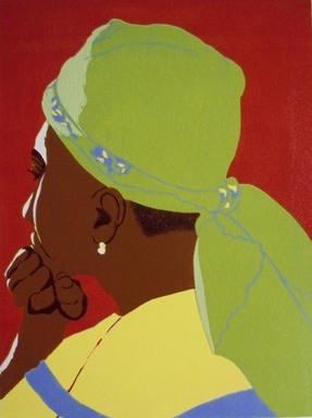 Yolene Legrand (Haitian). <em>Tete de Femme</em>. Color lino-cut on laid paper, sight: 12 x 9 in. (30.5 x 22.9 cm). Brooklyn Museum, Gift of Vivian D. Hewitt, 2015.14.8. © artist or artist's estate (Photo: Image courtesy of the artist, CUR.2015.14.8_artist_photograph.jpg)