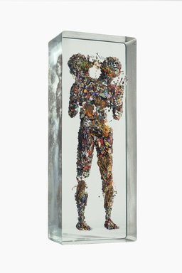 Dustin Yellin (American, born 1975). <em>Miniature Psychogeography 54</em>, 2015. Glass, paper collage, and acrylic, 35 x 13 3/4 x 7 3/4 in. (88.9 x 34.9 x 19.7 cm). Brooklyn Museum, Gift of the artist in honor of Arnold Lehman, 2015.24a-b (Photo: Image courtesy of the artist, CUR.2015.24a-b_DustinYellin_photograph.jpg)