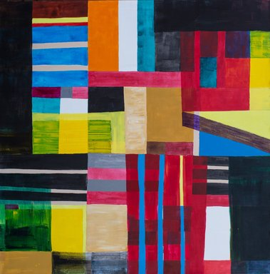 Atta Kwami (Ghanaian, born 1956). <em>Another Time (Xebubuyi)</em>, 2011. Acrylic on linen, 59 x 59 in. (149.9 x 149.9 cm). Brooklyn Museum, Designated Purchase Fund, 2015.40. © artist or artist's estate (Photo: Brooklyn Museum, CUR.2015.40.jpg)