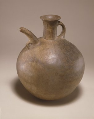 <em>Spouted Vessel</em>, 1st millennium B.C.E. Clay, slip, height: 9 13/16 in. (25 cm). Brooklyn Museum, Gift of the Arthur M. Sackler Foundation, NYC, in memory of James F. Romano, 2015.65.22. Creative Commons-BY (Photo: Photograph courtesy of the Arthur M. Sackler Foundation, New York, CUR.2015.65.22_Sackler_Foundation_image.jpg)