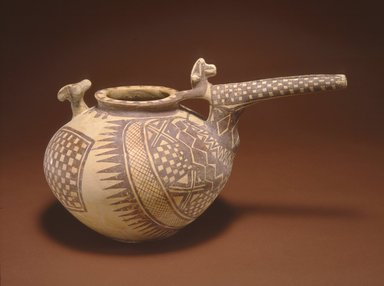 <em>Spouted Vessel</em>, ca. 800-600 B.C.E. Clay, slip, height: 7 11/16 in. (19.5 cm). Brooklyn Museum, Gift of the Arthur M. Sackler Foundation, NYC, in memory of James F. Romano, 2015.65.32. Creative Commons-BY (Photo: Photograph courtesy of the Arthur M. Sackler Foundation, New York, CUR.2015.65.32_Sackler_Foundation_image.jpg)