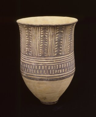 <em>Painted Beaker</em>, ca. 3500 B.C.E. Clay, slip, height: 6 5/16 in. (16 cm). Brooklyn Museum, Gift of the Arthur M. Sackler Foundation, NYC, in memory of James F. Romano, 2015.65.33. Creative Commons-BY (Photo: Photograph courtesy of the Arthur M. Sackler Foundation, New York, CUR.2015.65.33_Sackler_Foundation_image.jpg)