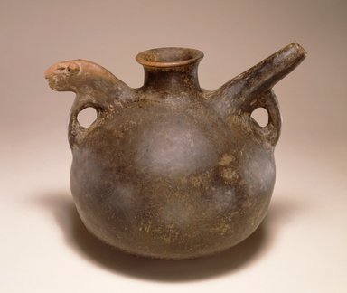 <em>Jug with Spout and Animal Head</em>, 1st millennium B.C.E. Clay, slip, height: 8 1/4 in. (20.9 cm). Brooklyn Museum, Gift of the Arthur M. Sackler Foundation, NYC, in memory of James F. Romano, 2015.65.7. Creative Commons-BY (Photo: Photograph courtesy of the Arthur M. Sackler Foundation, New York, CUR.2015.65.7_Sackler_Foundation_image.jpg)