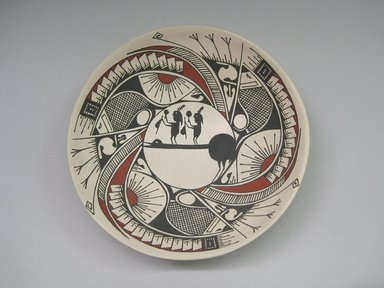 Ana Trillo de Corona (Mexican, Mata Ortiz, born 1970). <em>Bowl, Mimbres-Style, with Human Figures</em>, ca. 2003-2004. Ceramic, pigment, 1 1/2 x 6 1/2 x 6 1/2 in. (3.8 x 16.5 x 16.5 cm). Brooklyn Museum, Gift of the Edward J. Guarino Collection in honor of Amanda Caitlin Burns, 2015.68.11. Creative Commons-BY (Photo: Brooklyn Museum, CUR.2015.68.11_overall.jpg)