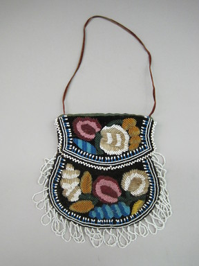 Iroquois. <em>Beaded Bag</em>, ca. 1880. Cloth, beads, silk, velvet, Including fringe but excluding strap: 8 1/2 × 1/2 × 7 1/4 in. (21.6 × 1.3 × 18.4 cm). Brooklyn Museum, Gift of the Edward J. Guarino Collection in honor of Kathleen Guarino-Burns, 2016.11.11. Creative Commons-BY (Photo: , CUR.2016.11.11_view01.jpg)