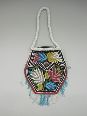 Iroquois. <em>Beaded Bag</em>, ca. 1860-1870. Cloth, beads, Including Strap: 5 7/8 × 1/8 × 12 7/8 in. (14.9 × 0.3 × 32.7 cm). Brooklyn Museum, Gift of the Edward J. Guarino Collection in honor of Amanda Caitlin Burns, 2016.11.12. Creative Commons-BY (Photo: , CUR.2016.11.12_view01.jpg)