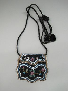 Iroquois. <em>Beaded Bag</em>, ca. 1880. Cloth, beads, Including braided strap: 5 1/8 × 1/8 × 27 in. (13 × 0.3 × 68.6 cm). Brooklyn Museum, Gift of the Edward J. Guarino Collection in memory of Josephine M. Guarino, 2016.11.13. Creative Commons-BY (Photo: , CUR.2016.11.13_view01.jpg)