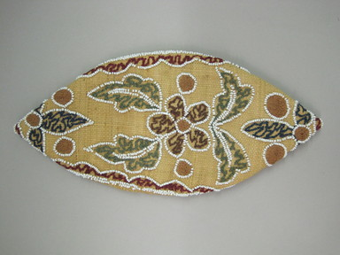 Oneida. <em>Corn Husk Cap</em>, ca. 1880. Corn husk, beads, thread, 3 1/2 × 5 1/8 × 9 in. (8.9 × 13 × 22.9 cm). Brooklyn Museum, Gift of the Edward J. Guarino Collection in memory of Edgar J. Guarino, 2016.11.20. Creative Commons-BY (Photo: , CUR.2016.11.20_view01.jpg)