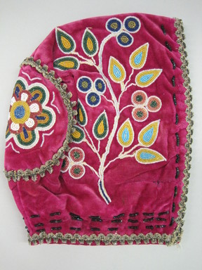 Woodlands. <em>Child's Cap</em>, ca. 1890s. Velvet, cloth, beads, 8 1/4 × 6 1/2 × 5 1/4 in. (21 × 16.5 × 13.3 cm). Brooklyn Museum, Gift of the Edward J. Guarino Collection in memory of Josephine M. Guarino, 2016.11.2. Creative Commons-BY (Photo: , CUR.2016.11.2_view01.jpg)