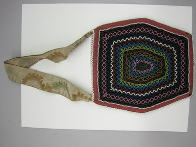 Seneca. <em>Beaded Bag</em>, ca. 1835. Cloth, beads, Including strap: 6 1/4 × 1/8 × 12 3/4 in. (15.9 × 0.3 × 32.4 cm). Brooklyn Museum, Gift of the Edward J. Guarino Collection in memory of Edgar J. Guarino, 2016.11.6. Creative Commons-BY (Photo: , CUR.2016.11.6_view01.jpg)