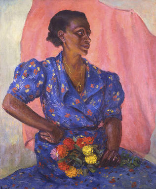 Laura Wheeler Waring (American, 1887-1948). <em>Woman with Bouquet</em>, ca. 1940. Oil on canvas, 30 x 25 in. (76.2 x 63.5 cm). Brooklyn Museum, Brooklyn Museum Fund for African American Art in honor of Teresa A. Carbone, 2016.2. © artist or artist's estate (Photo: Brooklyn Museum, CUR.2016.2.JPG)