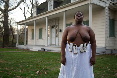 Nona Faustine (née Simmons) (American, born 1977). <em>Not Gone With The Wind, Lefferts House, Brooklyn</em>, 2016. Chromogenic photograph, sheet: 27 15/16 × 42 in. (71 × 106.7 cm). Brooklyn Museum, Emily Winthrop Miles Fund, 2017.41a. © artist or artist's estate (Photo: , CUR.2017.41.1_Simmons_photograph.jpg)
