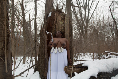 Nona Faustine (née Simmons) (American, born 1977). <em>Lobbying the Gods For A Miracle, Brooklyn</em>, 2016. Chromogenic photograph, sheet: 27 15/16 × 42 in. (71 × 106.7 cm). Brooklyn Museum, Emily Winthrop Miles Fund, 2017.41c. © artist or artist's estate (Photo: , CUR.2017.41.3_Simmons_photograph.jpg)