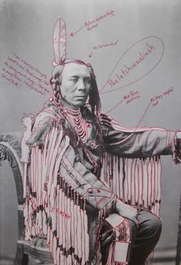 Wendy Red Star (Apsáalooke (Crow), born 1981). <em>Peelatchixaaliash / Old Crow (Raven)</em>, 2014. Inkjet print, each panel: 25 × 17 in. (63.5 × 43.2 cm). Brooklyn Museum, Gift of Loren G. Lipson, M.D., 2018.19.2a. © artist or artist's estate (Photo: , CUR.2018.19.2a.jpg)