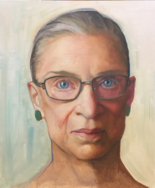 Constance P. Beaty (American). <em>Large Oil Sketch: Associate Justice Ruth Bader Ginsburg</em>, ca. 2015-2016. Oil on linen, 42 × 34 × 1 1/2 in. (106.7 × 86.4 × 3.8 cm). Brooklyn Museum, Gift of Justice Ruth Bader Ginsburg, 2019.2. © artist or artist's estate (Photo: Photo courtesy Constance P. Beaty, CUR.2019.2.jpg)