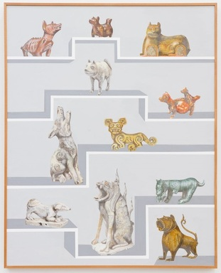 Gala Porras-Kim (Colombian, born 1984). <em>13 International Dogs</em>, 2019. Graphite, color pencil, and ink on paper mounted on canvas, 60 × 48 in. (152.4 × 121.9 cm). Brooklyn Museum, Purchased with funds given by The LIFEWTR Fund at Frieze New York 2019, 2019.22. © artist or artist's estate (Photo: , CUR.2019.22.jpg)