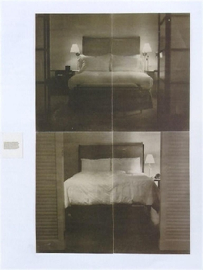 Lorna Simpson (American, born 1960). <em>The Bed</em>, 1995, reprinted 2016. Serigraph on felt, panels a-d: 35 9/16 × 22 1/16 × 3/16 in. (90.3 × 56 × 0.5 cm). Brooklyn Museum, Gift from the collection of Peggy Jacobs Bader, 2019.3a-e (Photo: Image courtesy of Sean Kelly Gallery, CUR.2019.3a-e_Simpson_SeanKellyGallery_photograph.jpg)