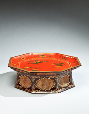 <em>Footed Tray</em>, 18th-19th century. Lacquered wood and basketry, diameter: 9 3/4 in. (24.8 cm). Brooklyn Museum, Gift of Nicholas Grindley, 2019.8.2 (Photo: , CUR.2019.8.2_overall.jpg)