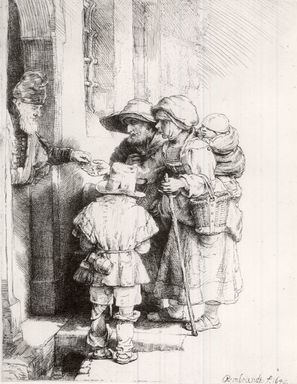 Rembrandt Harmensz. van Rijn (Dutch, 1606-1669). <em>Beggars Receiving Alms at the Door of a House</em>, 1648. Etching, burin, and drypoint on wove paper, Plate: 6 1/2 x 5 1/8 in. (16.5 x 13 cm). Brooklyn Museum, Bequest of William H. Herriman, 21.237 (Photo: Brooklyn Museum, CUR.21.237.jpg)