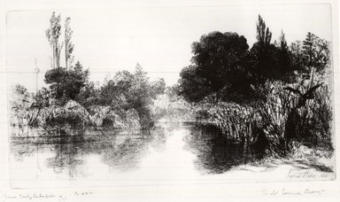 Seymour Haden (British, 1818-1910). <em>Shere Mill Pond</em>, 1860. Etching and drypoint on laid paper, 7 x 13 1/16 in. (17.8 x 33.2 cm). Brooklyn Museum, Gift of Samuel P. Avery, Jr., 21.318 (Photo: Brooklyn Museum, CUR.21.318.jpg)